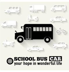 Flat school bus background vector