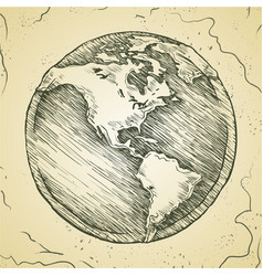 globe outline drawing doodle sketch vector image vector image