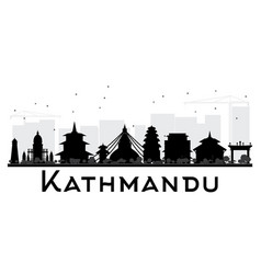 kathmandu city skyline black and white silhouette vector image vector image