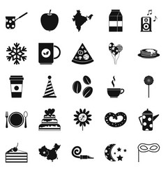 kettle drum icons set simple style vector image