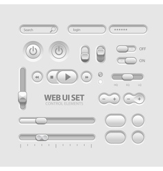 Light web ui elements design gray elements buttons vector