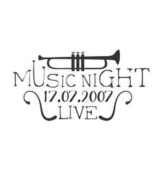 live music night concert black and white poster vector image