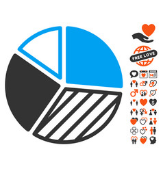 Pie chart icon with valentine bonus vector