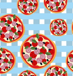 Pizza seamless pattern on a blue tablecloth Food vector image vector image
