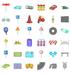 Road sigh icons set cartoon style vector