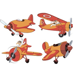 Set of old planes cartoon vector