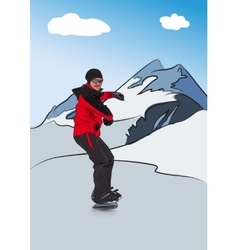 Snowboarder on downhill vector