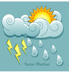 Sun behind the clouds and rain drops and lightnin vector image vector image
