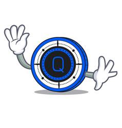 Waving qash coin character cartoon vector