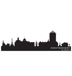Montgomery alabama skyline detailed silhouette vector