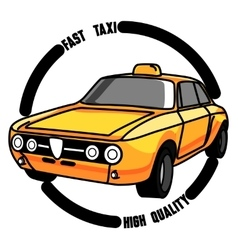 Color vintage taxi emblem vector image