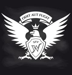 heraldic royal eagle on blackboard background vector image
