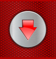 Red perforated background with down arrow button vector