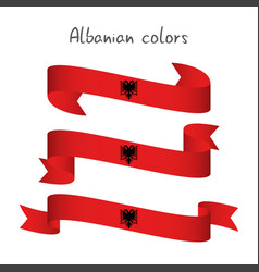 Set of three ribbons with the albanian colors vector