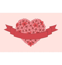 flowers hand-drawn in the shape of a heart vector image