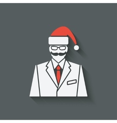 Businessman in santa clause hat vector