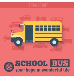 Flat school bus background vector