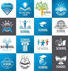 Large collection of logos school vector