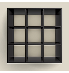 3d isolated empty black bookshelf vector