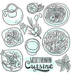 Medditerranean cuisine- food on white background vector