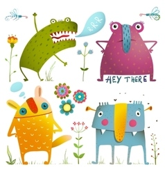 Fun cute little monsters for kids design colorful vector