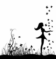 Girl on meadow vector