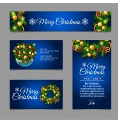 Four business card with christmas decoration vector