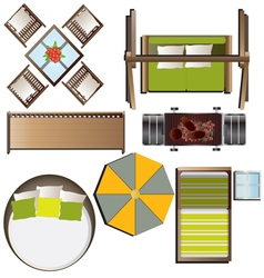 Outdoor furniture top view set 16 for landscape vector