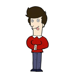 Comic cartoon man sticking out tongue vector