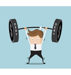 Businessman lifting heavy weight debt vector
