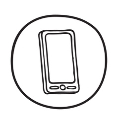 Doodle mobile phone icon vector
