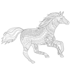Running horse in zentangle style vector image