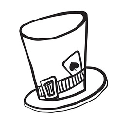 Simple black and white mad hatters hat vector