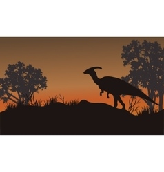 Silhouette of one parasaurolophus in hills vector