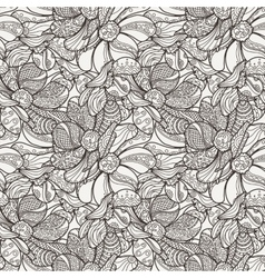 Seamless floral zentangle pattern vector