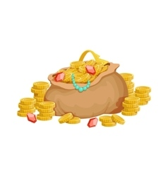 Big Sack With Golden Coins And Jewelry Hidden vector image vector image