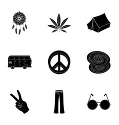 Bird hemp leaf and other hippy equipment hippy vector