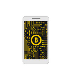 bitcoin btc cryptocurrency concept of mining vector image