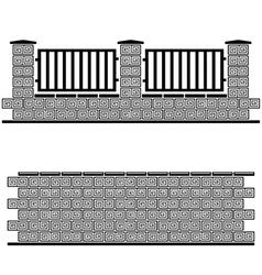 Black ornate brick wall vector