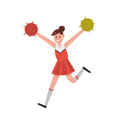 Cheerleading girl dancing with pompoms to support vector