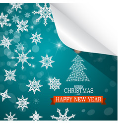 Christmas card paper cut snowflakes on blue vector