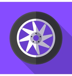 Colorful wheel and tyre icon in modern flat style vector