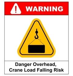 Danger overhead load sign vector