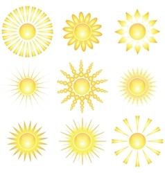 Decorative sun symbols vector image