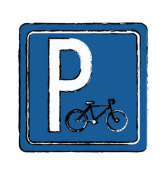 Drawing bycicle road sign parking vector