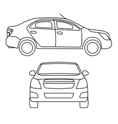 Drawing car side view and vector