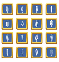 ear corn icons set blue vector image