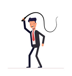 Evil boss or businessman with a whip in his hands vector