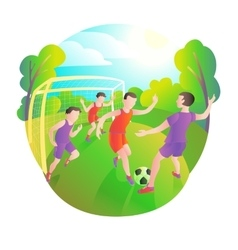 Footballers playing outdoors football field vector