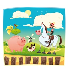 Funny farmer with animals vector